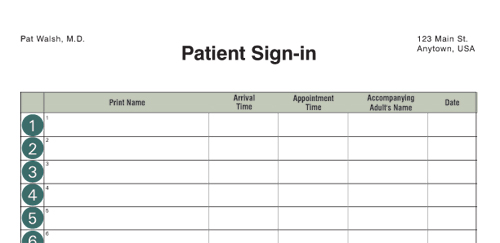 appointment sign in sheet template
