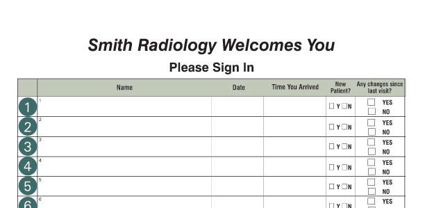 Facility Name centered, custom sign-in fields. This Radiology office ...