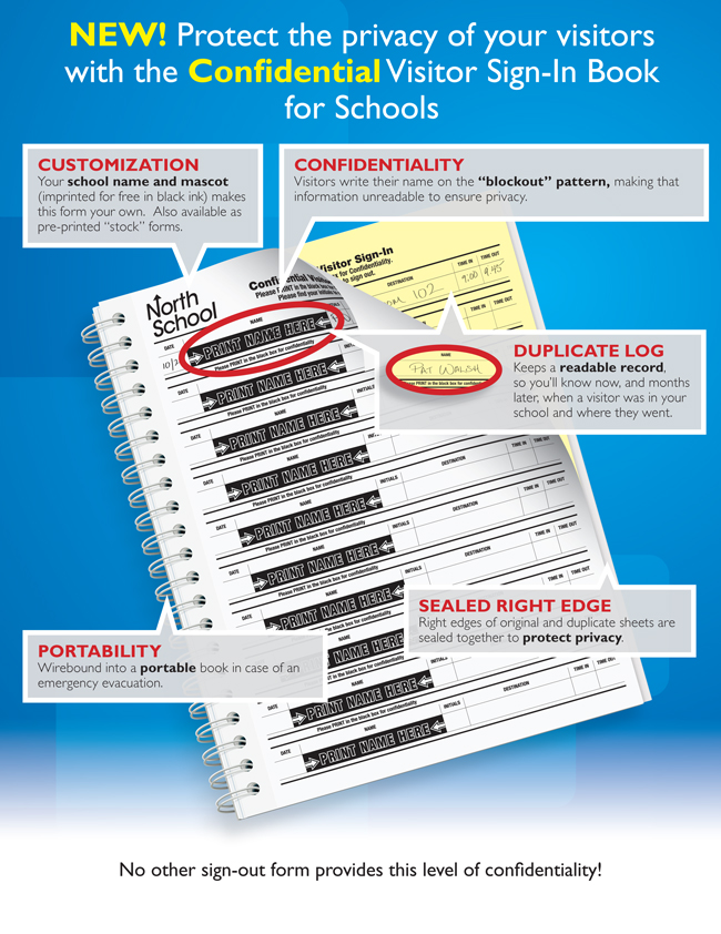 confidential sign in book protect school visitor privacy 2 part