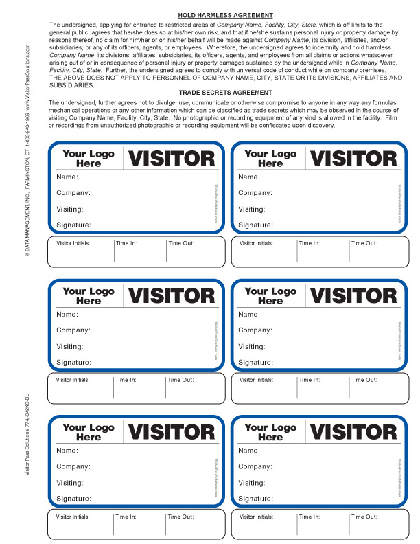 Visitor Agreement Badges Brwith Sign Out Option