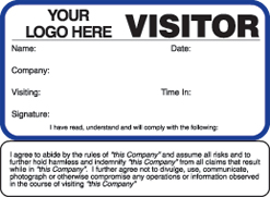 Visitor Pass Solutions Visitor Agreement Badge Style #782