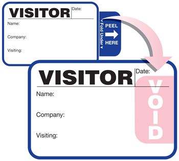 TAB-Expiring Visitor Badge with one-piece activation; One Day Time-Expiring Visitor Badges