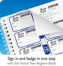 Sign-in abd badge in one step with the Visitor Pass Registry Book