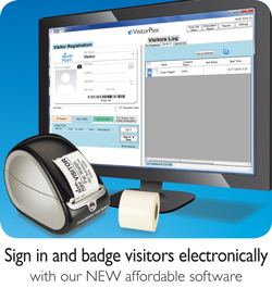 Sign in and badge visitors electronically with eVisitorPass Visitor Management Software