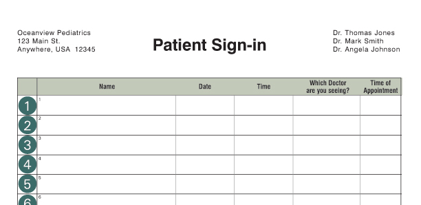 Medical office supplies for Resident sign out sheet template