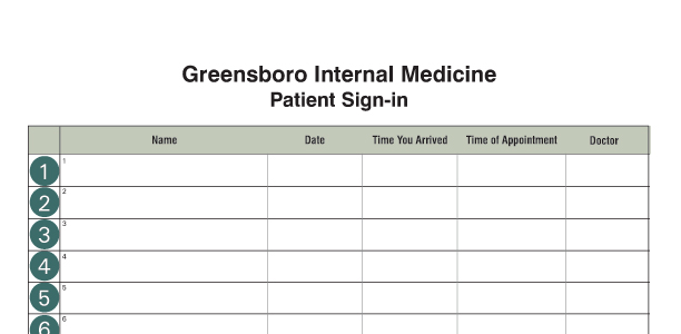 Medical Office Supplies – Blank Sign in Sheet