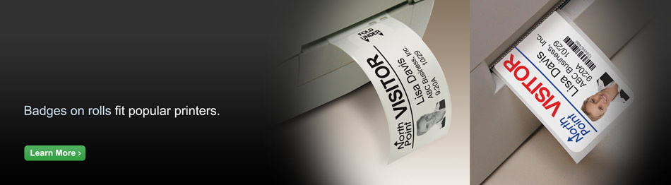 Electronic Visitor Pass Solutions. Badges on rolls fit popular direct thermal printers.