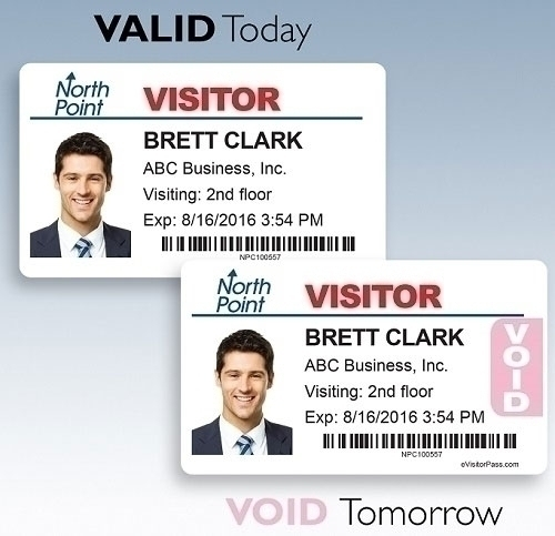 One Day Time-Expiring Visitor Badges